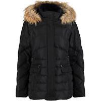 LARRY LEVINE Women's Faux-Fur-Trim Hooded Down Coat / Jacket Black - size XL