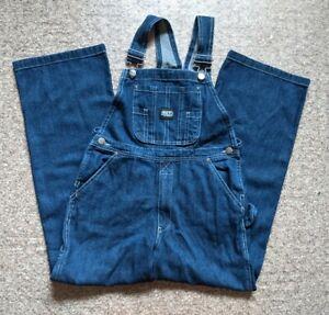 Key Youth Bib Overalls Blue Jean Boys Size 12 Dark Wash 100% Cotton *New