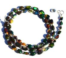 Super Rainbow Flashing Fire Ethiopian Black Opal Smooth Nuggets Necklace 22""
