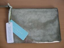 John Lewis Leather Gold Pouch Clutch Zip top Bag BNWT    - (ref T12)