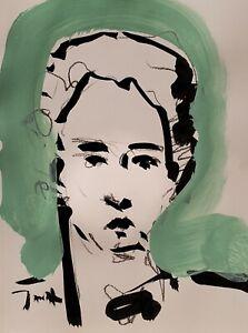 JOSE TRUJILLO - ORIGINAL Art Deco SIGNED ACRYLIC on Paper PAINTING 9x12