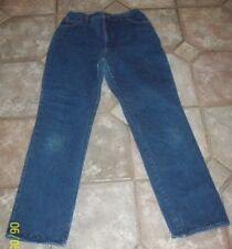 Women's LL Bean * Red Plaid Flannel Lined Jeans * Size 16* Waist 31 * Inseam 33