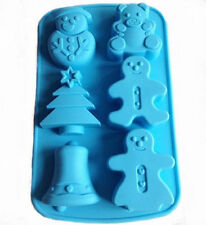 6--Big Snowman Christmas Tree Bell Cake Mold Cookie Mould Flexible Silicone Soap