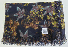 """Chan Luu VINTAGE HOLIDAY FLORAL PRINT """"Outer Space"""" Cashmere Silk Scarf Wrap"""