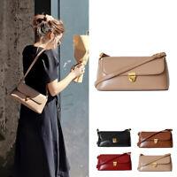 2 Straps! Vintage Real Leather Flap Shoulder Bag Baguette Purse Crossbody Small
