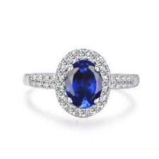 1.65Ct Carat Oval Shape Natural Blue Tanzanite 925 Sterling Silver Women's Ring