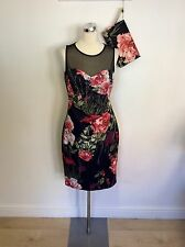 KAREN MILLEN BLACK & RED FLORAL PENCIL DRESS SIZE 14 & BRAND NEW MATCHING BAG