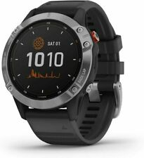 Garmin Fenix 6 47mm Silver Plastic Resin Case with Black Rubber Band Multisport