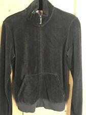 New Women's Juicy Couture Dark Grey Velour Track Jacket Size Large