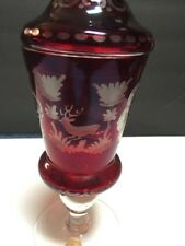 RUBY RED Jar Glass CUT TO CLEAR CRYSTAL Alfred Taube Vohenstrauss CRANE & DEER