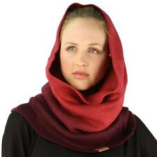 Winter Ombre Soft Pullover Knit Single Loop Tube Infinity Hood Cowl Scarf Wine