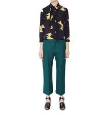 Marni Green Wool Silk Cropped Trousers