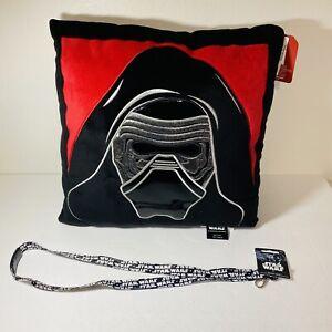 Disney Star Wars Darth Vader The Force Awakens Plush Pillow 15x15 + Lanyard New