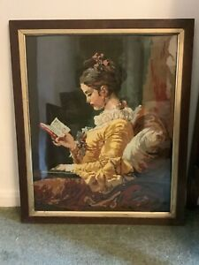 """Completed Pretty Tapestry Framed of picture by Fragonard """"Young Girl Reading"""""""