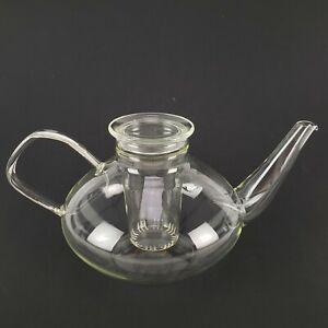 Vintage Schott Mainz Jena Glass Teapot With Infuser & Lid - Mid-Century
