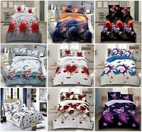 4 Piece 3D Design Duvet Quilt Cover Bed Set With Fitted Sheet & 2 Pillow Cases