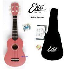 UKULELE SOPRANO EKO PINK ROSA KIT CON BORSA + set CORDE + accordatore + ACCORDI