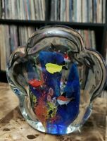 Studio Art Cenedese Glass Italian Millefiori Murano Paperweight Fish Aquarium