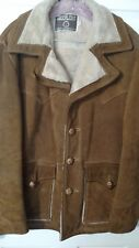 Sheplers Men's Coat Brushed Suede Lined Size 40 Brown Very Heavy & Warm