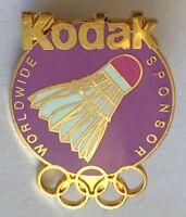 Kodak Worldwide Sponsor Shuttlecock Olympics Pin Badge Rare Vintage (E5)