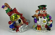 2 Christmas Around The World Tealight Votive Candle Holders Snowman Bell Gnomes