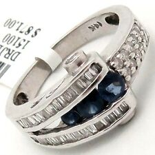 DIAMOND & Blue Sapphire Gemstone Cocktail RING 0.58TCW GH/SI 14K White Gold sz 7