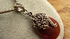 Vintage Style Ruby Tear Drop Necklace Chain Art Deco Mothers Day Gift for her xx