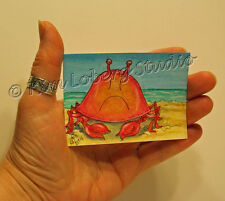 Crab cakes Crustacean aceo EBSQ Kim Loberg Mini Oceans art Sand Beach sea Shore