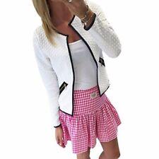 Women's Slim Casual Long Sleeve Jacket Zip Up Blazer Cardigan Outwear Coat Tops
