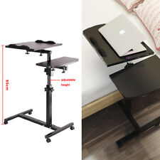 Durable Height Adjustable Rolling Laptop Notebook Desk Over Sofa Table Stand