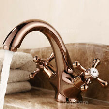 Rose Gold Bathroom Basin Faucet Lavatory Counter Tap Dual Cross Handle Mixer NEW