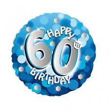 """Blue Sparkle età 60 60th 18"""" ROUND compleanno elio Foil Balloon 1st Class Post"""