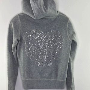 PINK Victoria's Secret Women's Studded Zip Hoodie Size SMALL Gray Silver Heart
