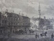 London CORNHILL - GRACECHURCH & FENCHURCH ST. 1630 Original Victorian Print 1878
