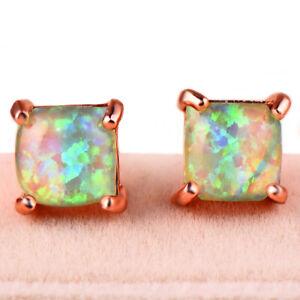 New 6MM Square Shaped Charm Rainbow Green Opal Gems Rose Gold Women Stud Earring