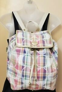 COACH Foldable Multicolor Madras/Poppy Nylon PACK-ABLE TRAVEL Backpack 12x11x5.5