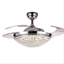 """42"""" Silver Crystals Invisible Ceiling Fan Chandelier Led Light Room Fan Lamp"""
