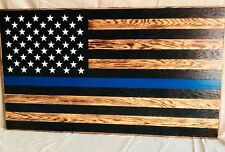 Handmade Rustic American Flag, Wooden, Thin blue line, Charred/Burnt