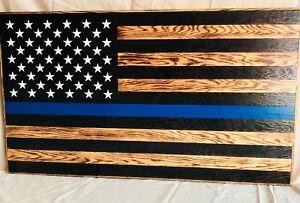 Handmade Rustic American Flag, Wooden, Thin blue line, Charred/Burnt