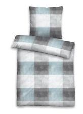 Castell Bettwäsche 135x200 Baumwolle Linon 4tlg Karo Ciel grau Reißverschluss