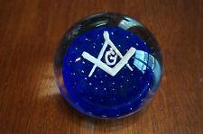 Masonic Freemason Shriner Glass Paperweight Desk Ornament Heavy NOS