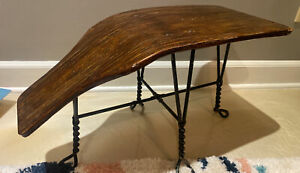 primitive antique shoe shine bench with twisted metal legs