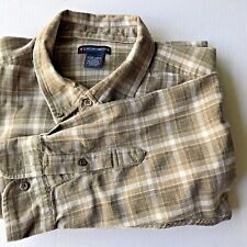 Brown Men's XL Cotton Long Sleeved Plaid Shirt Gently Used