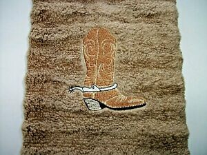 COWBOY BOOT DESIGN EMBROIDERED, TAN HAND TOWEL