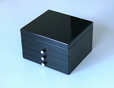 NEW 3 DRAWER EXTRA LARGE WOODEN JEWELLERY GIFTS BOX IN GLOSS FINISH 201 BLACK 3k