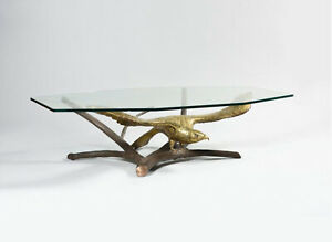 Table basse brutaliste aigle Alain Chervet – French vintage brass coffee table