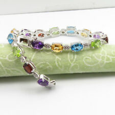 Genuine AMETHYST CITRINE & OTHER GEMSTONE 925 Solid Silver Women's Bracelet New
