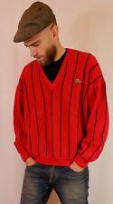 Vintage 80's 90's Lacoste Striped V Neck Jumper 6 L-XL Short Red Made in France