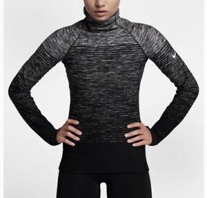 Nike Hyperwarm Advanced Performance Warm Black Gray White Turtleneck Long Sleeve