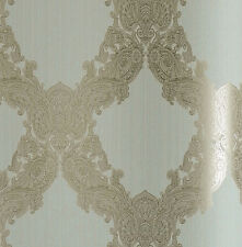 Tapete, Designtapete, Ornamente, floral, camel, hellbleu, edel, glänzend, Luxus